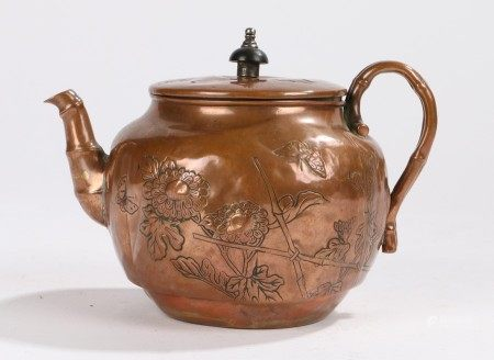 Chinese copper teapot, with foliate and butterfly decorated lid and body, stylised bamboo spout