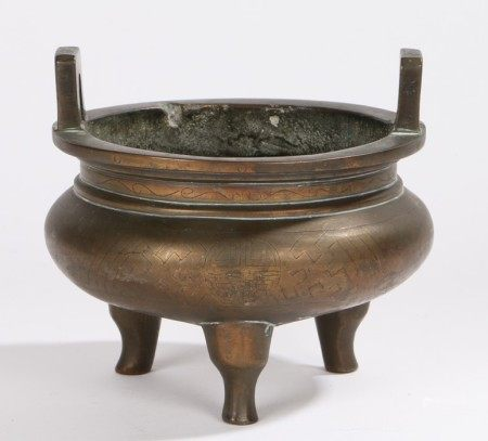 Chinese Qing Dynasty bronze censer, the censer surmounted by a pair of rectangular angled loops