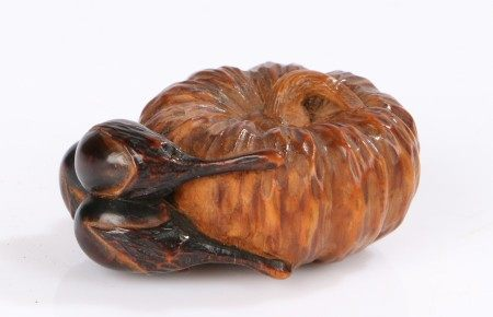 Fine Japanese carved netsuke, Meiji period, carved as a pumpkin and two aubergines, 3.5cm diameter