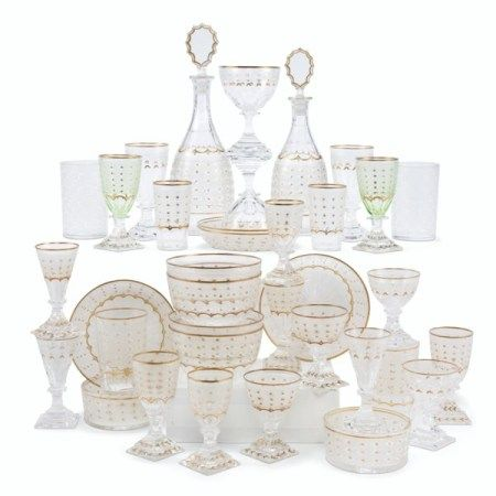 AN ASSEMBLED KOSTA CLEAR AND GREEN ETCHED AND CUT-GLASS PART STEMWARE SERVICE 20TH CENTURY