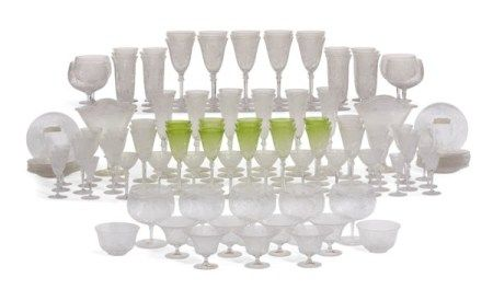 A CONTINENTAL CLEAR AND LIME-GREEN ENGRAVED AND MONOGRAMMED GLASS PART STEMWARE SERVICE LATE 19TH/EARLY 20TH CENTURY