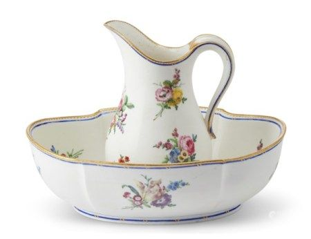 A VINCENNES PORCELAIN EWER AND A BASIN CIRCA 1754, BLUE INTERLACED L'S ENCLOSING DATE LETTERS A AND C FOR 1753 AND 1755, PAINTER'S MARK W FOR LE VAVASSEUR, THE EWER INCISED CD, THE BASIN INCISED EP