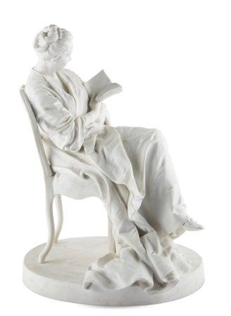A SEVRES BISCUIT PORCELAIN (PATE NOUVELLE) FIGURE OF A WOMAN READING DATED 1915, IMPRESSED RECTANGULAR SEVRES MARKS, ONE DATED 1915 AND WITH DN FOR PATE NOUVELLE, INCISED SCRIPT GB, MODELED BY JULES DALOU