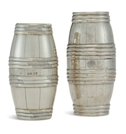 TWO SILVER DOUBLE BEAKERS ONE MARK OF W.W. WILLIAMS, LONDON, 1875, THE OTHER MAKER'S MARK IW, HANAU, 19TH CENTURY