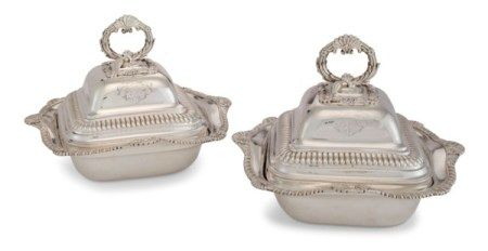 A PAIR OF GEORGE III SILVER VEGETABLE DISHES AND COVERS MARK OF THOMAS ROBINS, LONDON, 1810