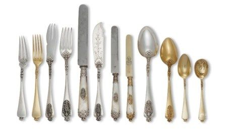 A FRENCH SILVER, PARCEL-GILT, AND MOTHER-OF-PEARL FLATWARE SERVICE MARK OF HENRI SOUFFLOT, PARIS, CIRCA 1885