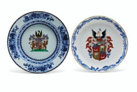 TWO DUTCH MARKET ARMORIAL DISHES QIANLONG PERIOD (1736-1795)