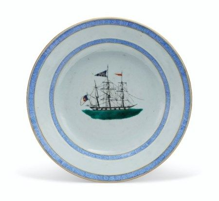 A RARE 'SHIP' PLATE FOR THE PORTUGUESE MARKET CIRCA 1820