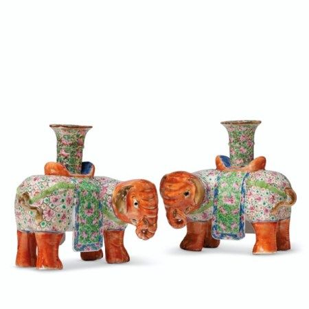 A PAIR OF 'CANTON FAMILLE ROSE' ELEPHANT CANDLEHOLDERS FIRST HALF 19TH CENTURY