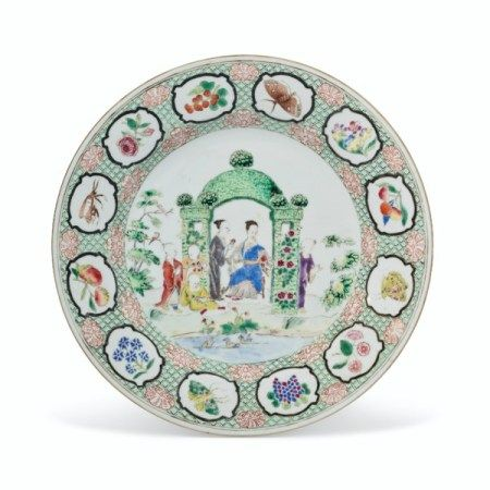 A FAMILLE ROSE 'PRONK ARBOR' PLATE QIANLONG PERIOD, CIRCA 1738