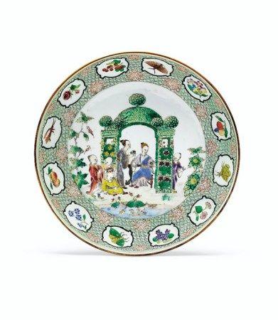 A FAMILLE ROSE 'PRONK ARBOR' SAUCER DISH QIANLONG PERIOD, CIRCA 1738