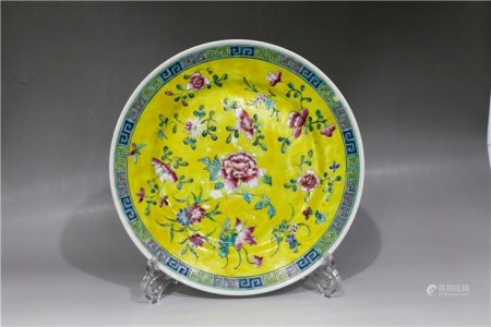 Floral plate with yellow glaze 黄釉花卉纹盘