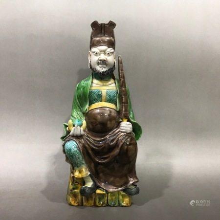 Tri-color statue of the God 三彩武财神塑像