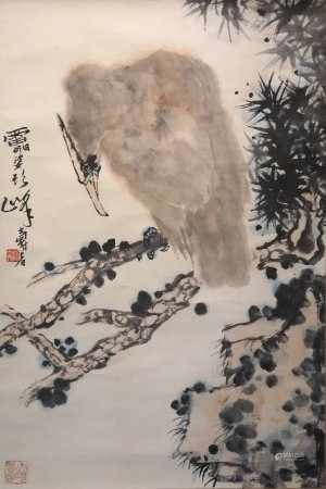 Chinese calligraphy and painting of an eagle 中国字画 老鹰