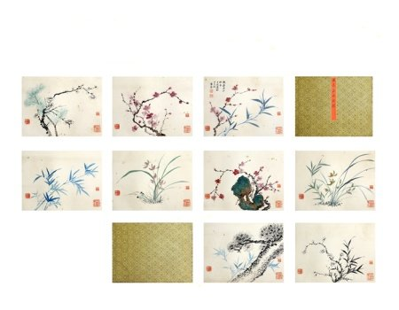 Chinese calligraphy and painting flower album 中国字画 花卉册