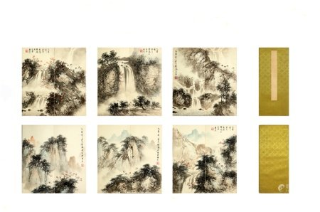 Chinese calligraphy and painting landscape album 中国字画 山水册