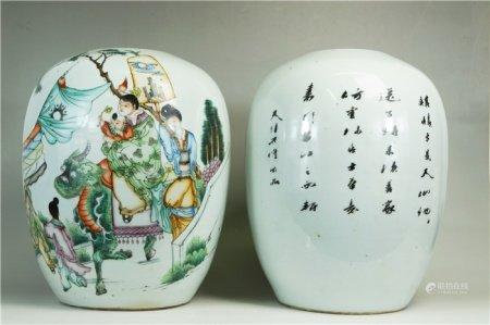 A pair of powder enamel figures 粉彩人物罐一对