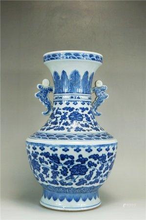 Two-ear blue and white pot 青花双耳尊