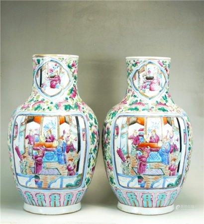 A pair of powder enamel figures vase 粉彩人物瓶一对