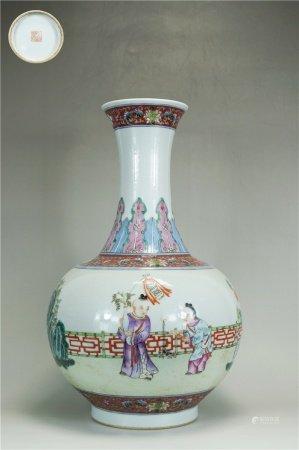 Powder enamel vase with character design 粉彩人物瓶