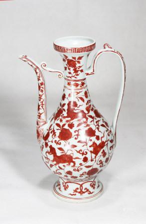 Alum red glaze wine pot with floral pattern 矾红釉花卉纹酒壶