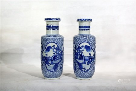 A pair of blue-and-white windowed characters story lines hammer bottles 青花开窗人物故事纹棒槌瓶一对