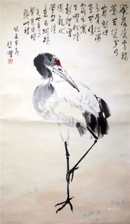 Chinese calligraphy and painting of crane 中国字画 仙鹤图