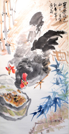 Chinese calligraphy and painting rooster 中国字画 雄鸡
