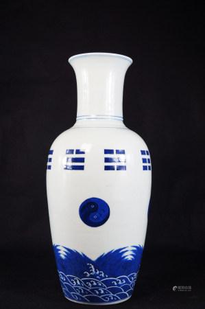 Blue and white gossip bottle 青花八卦瓶