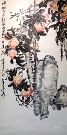 Chinese calligraphy and painting flowers on paper 中国字画 纸本花卉