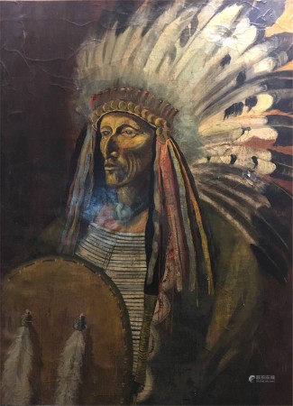 OIL PAINTING ON CANVAS PORTRAIT OF CHIEF RED CLOUD OF LACOTA NATION UNKNOWN ARITST