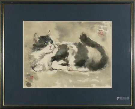 WATERCOLOR OF CAT BY CHEN DEHONG