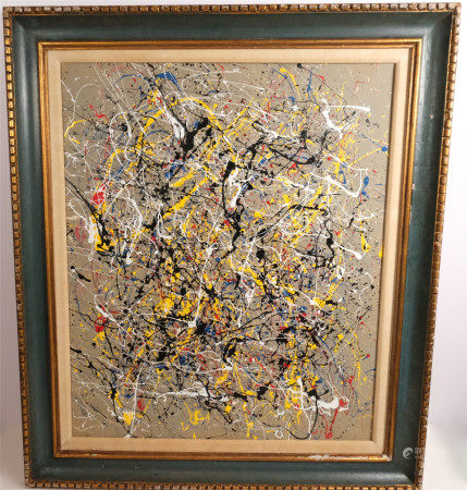 IN STYLE OF JACKSON POLLOCK ABSTRACT ACRYCIC ON CANVAS