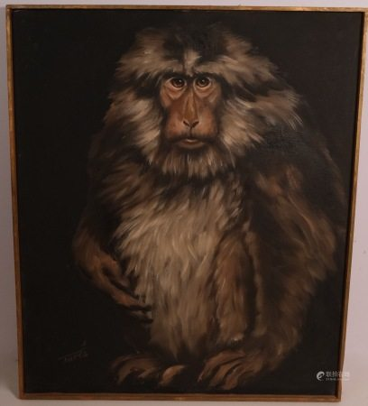 OIL CANVAS PAINTING OF A MONKEY