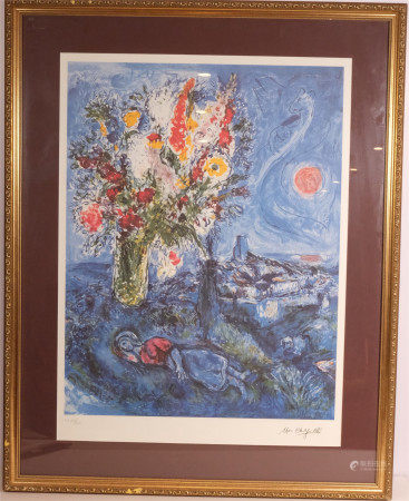 MARC CHAGALL - DREAM OF FLOWERS (French 1887-1985).