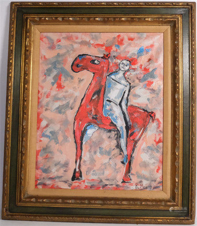 R MONTI MODERN ABSTRACT OIL PAINTING MALE ON HORSE