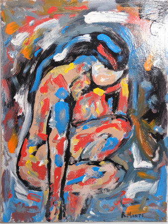 R MONTI MODERN ABSTRACT OIL PAINTING Nude Woman