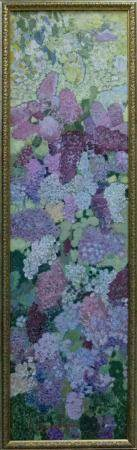 ZARETSKY VICTOR IVANOVICH OILPAINTING LILAC ON WOOD