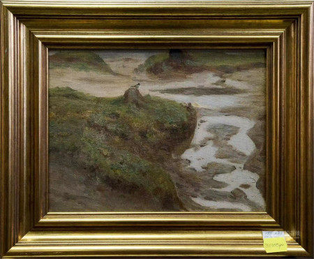SERGEI IVANOVICH SVETOSLAVSKY OIL PAINTING RIVER LANDSCAPE ON CANVAS