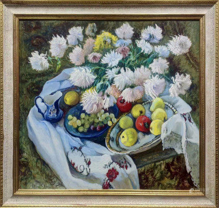 MAKSIMENKO NIKOLAY ANTONOVICH OIL PAINTING CHRYSANTHEMUMS ON CANVAS