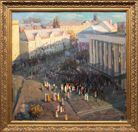 Oil painting Theater in Zhitomir Maksimenko Mykola