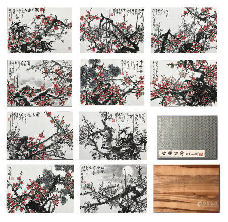 TEN PAGES OF CHINESE ALBUM PAINTING OF PLUM BLOSSOMMINGS SIGNED BY GUAN SHANYUE