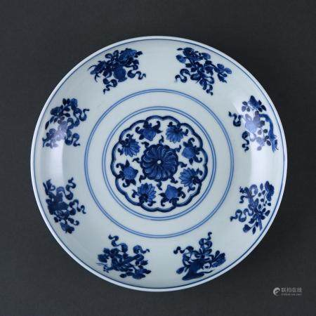 Qing Dynasty style Blue and White Eight Treasures Plate