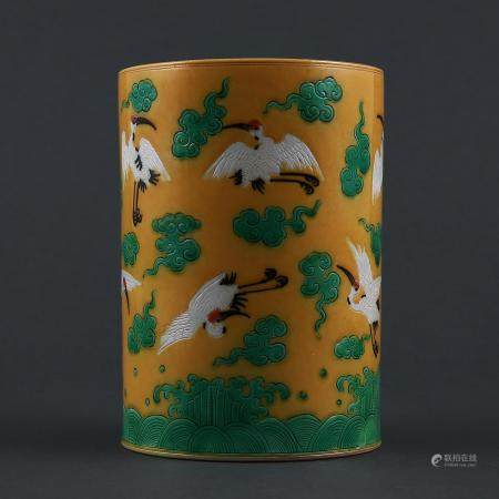 Qing Dynasty style Su Three-color Crane, Cloud and