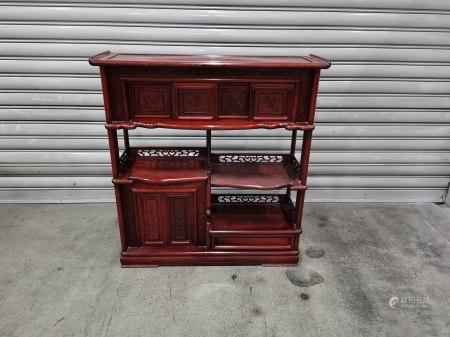 花鳥紋紅木古董茶櫃