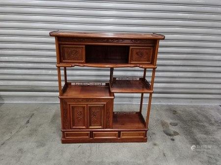 雕花蒔繪紅木茶櫃