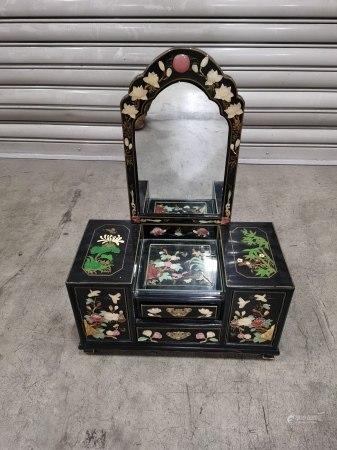五彩玉石鑲嵌小鏡台