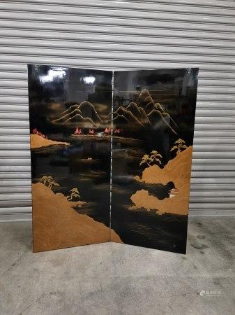 二折蒔繪山水圖大漆屏