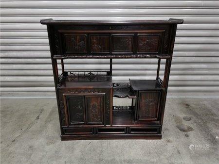 高級黑柿木雕松紋茶櫃