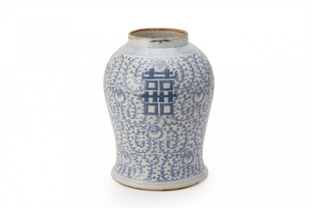 A BLUE & WHITE 'DOUBLE HAPPINESS' BALUSTER JAR